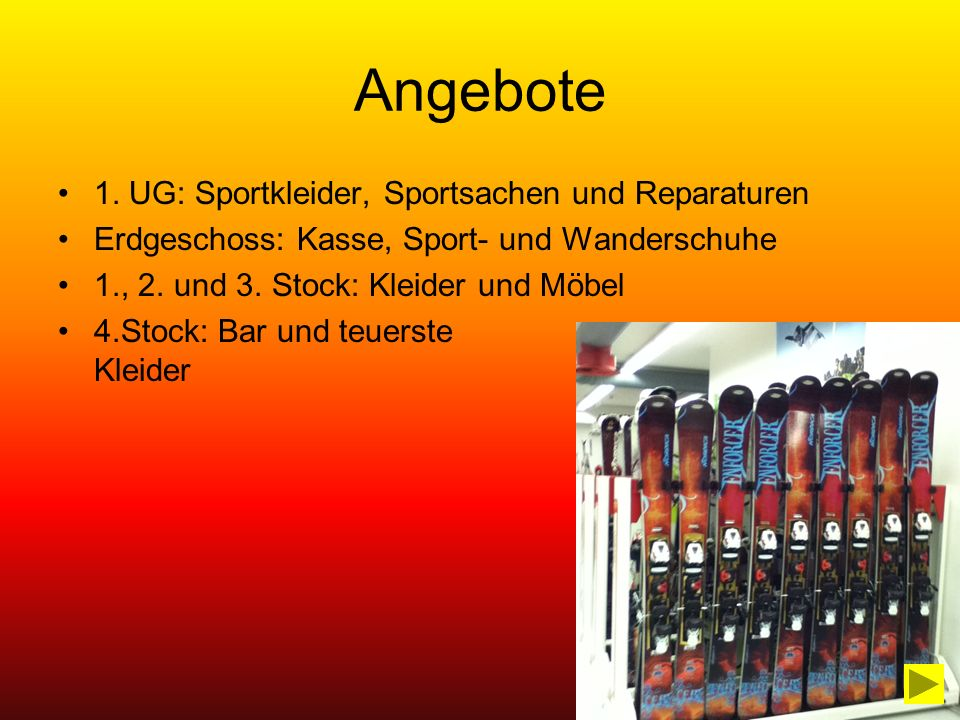 Angebote 1. UG: Sportkleider, Sportsachen und Reparaturen