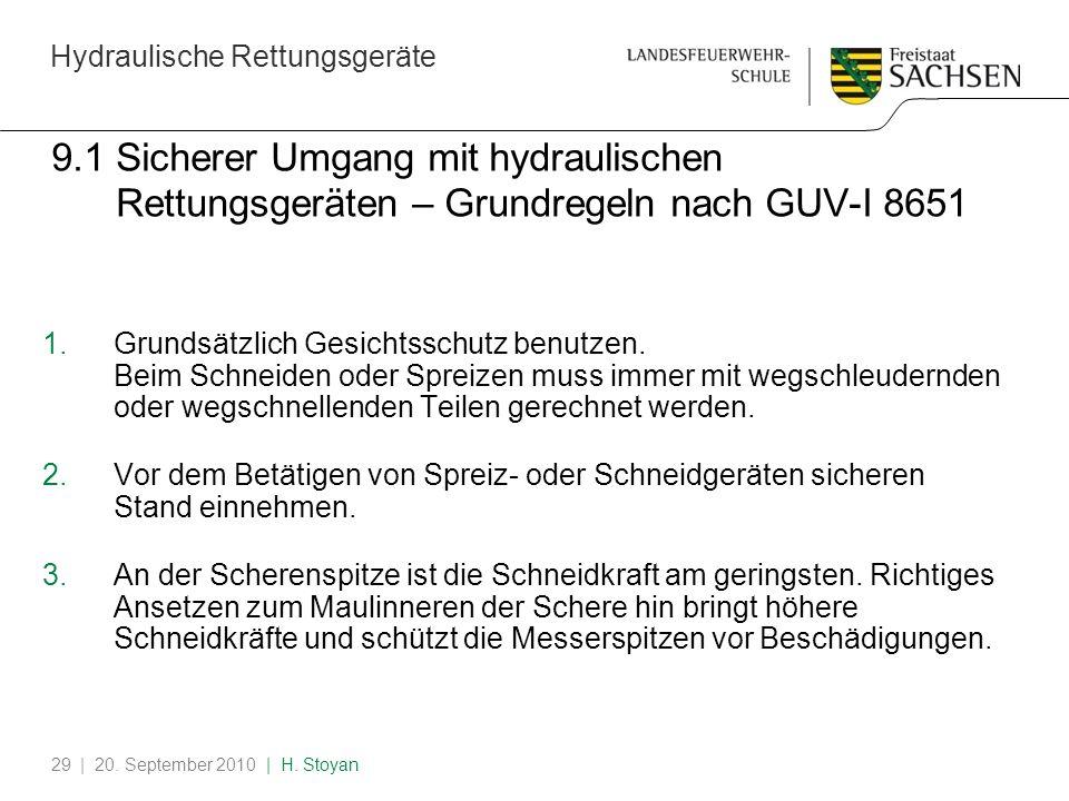 9.1 Sicherer Umgang mit hydraulischen Rettungsgeräten – Grundregeln nach GUV-I 8651