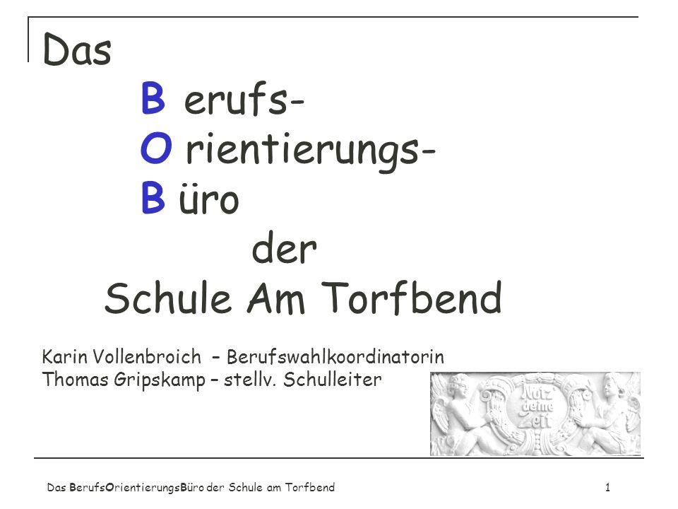 Das B erufs- O rientierungs- B üro der Schule Am Torfbend Karin Vollenbroich – Berufswahlkoordinatorin Thomas Gripskamp – stellv. Schulleiter