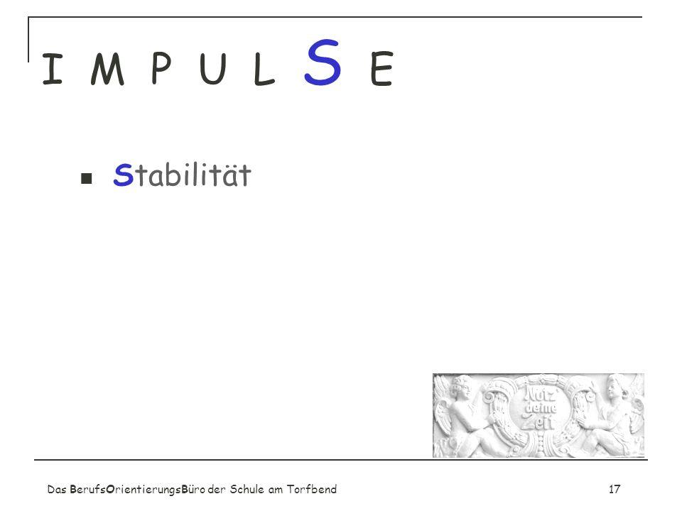 I M P U L S E Stabilität Fester Bestandteil der Schule!