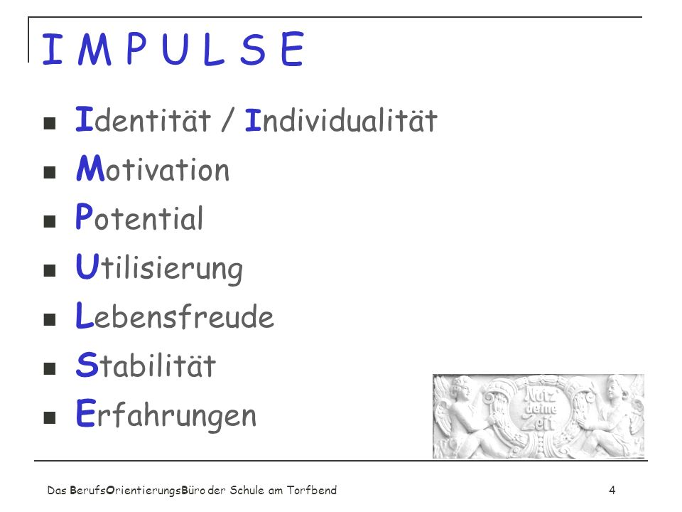 I M P U L S E Identität / Individualität Motivation Potential