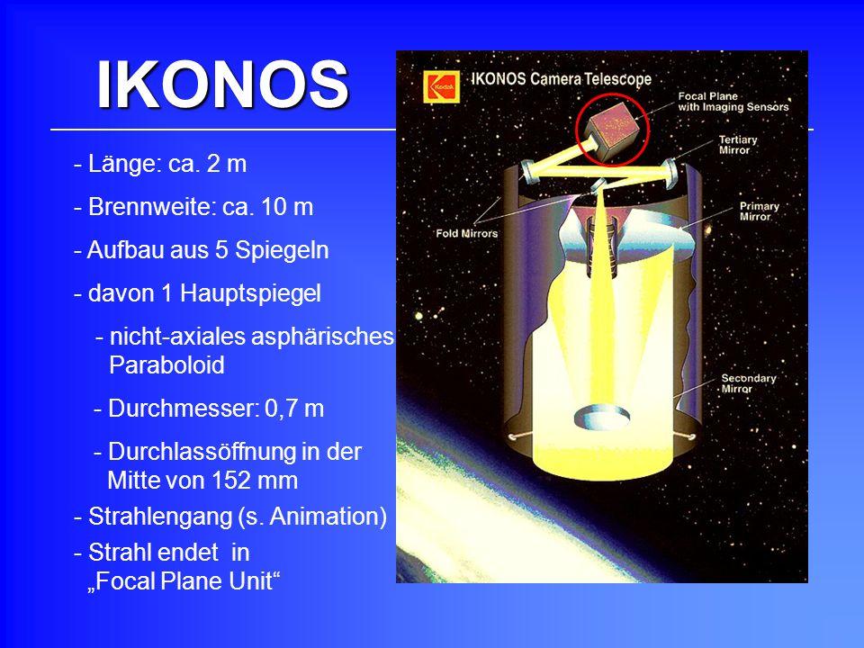 IKONOS Länge: ca. 2 m - Brennweite: ca. 10 m Aufbau aus 5 Spiegeln