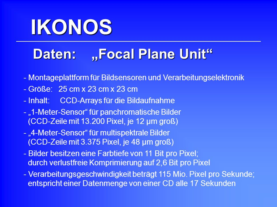 "Daten: ""Focal Plane Unit"