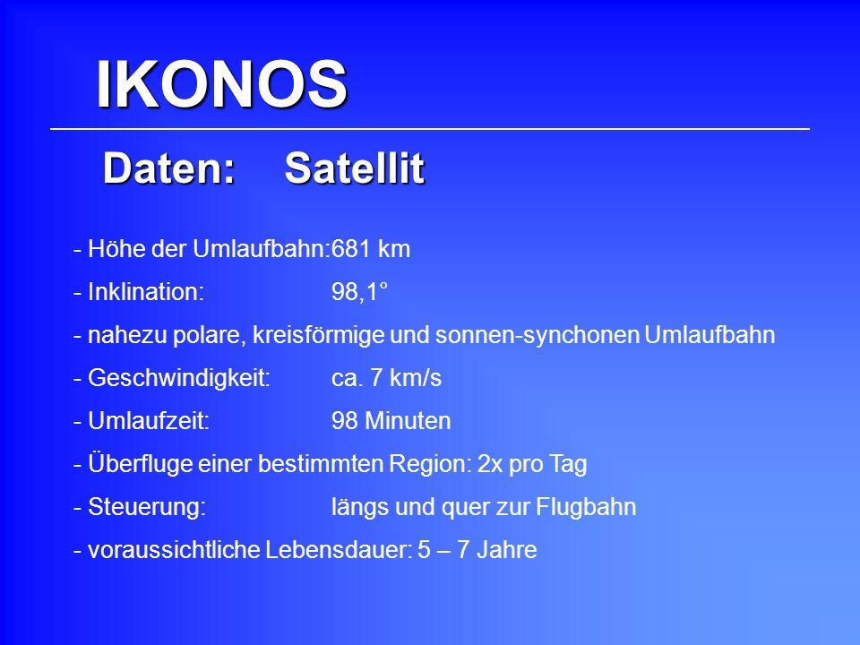 IKONOS Daten: Satellit - Höhe der Umlaufbahn: 681 km