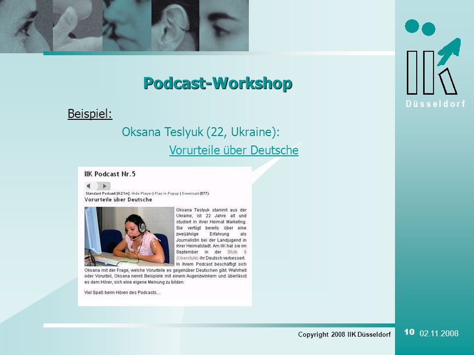 Podcast-Workshop Beispiel: Oksana Teslyuk (22, Ukraine):