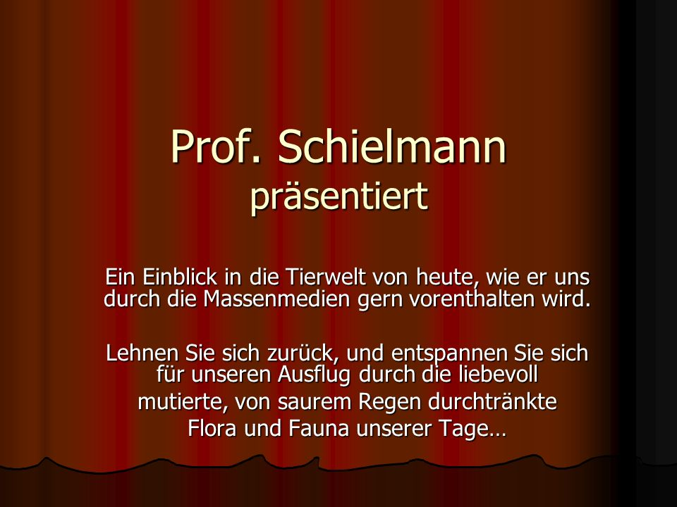 Prof. Schielmann präsentiert