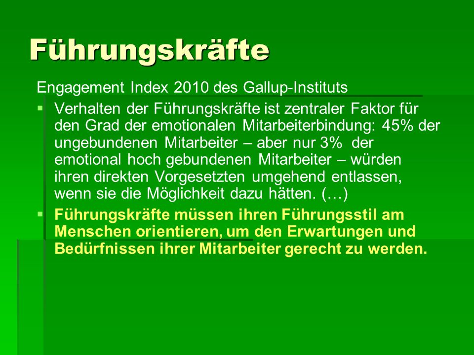 Führungskräfte Engagement Index 2010 des Gallup-Instituts