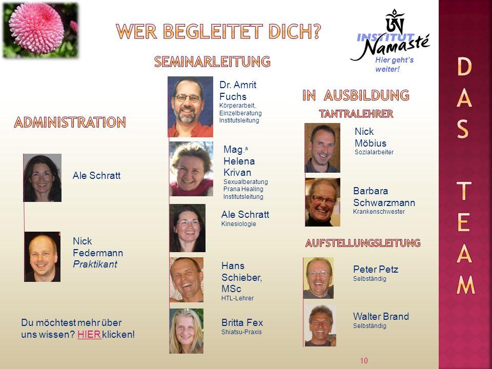Das Team Wer begleitet dich Seminarleitung In Ausbildung
