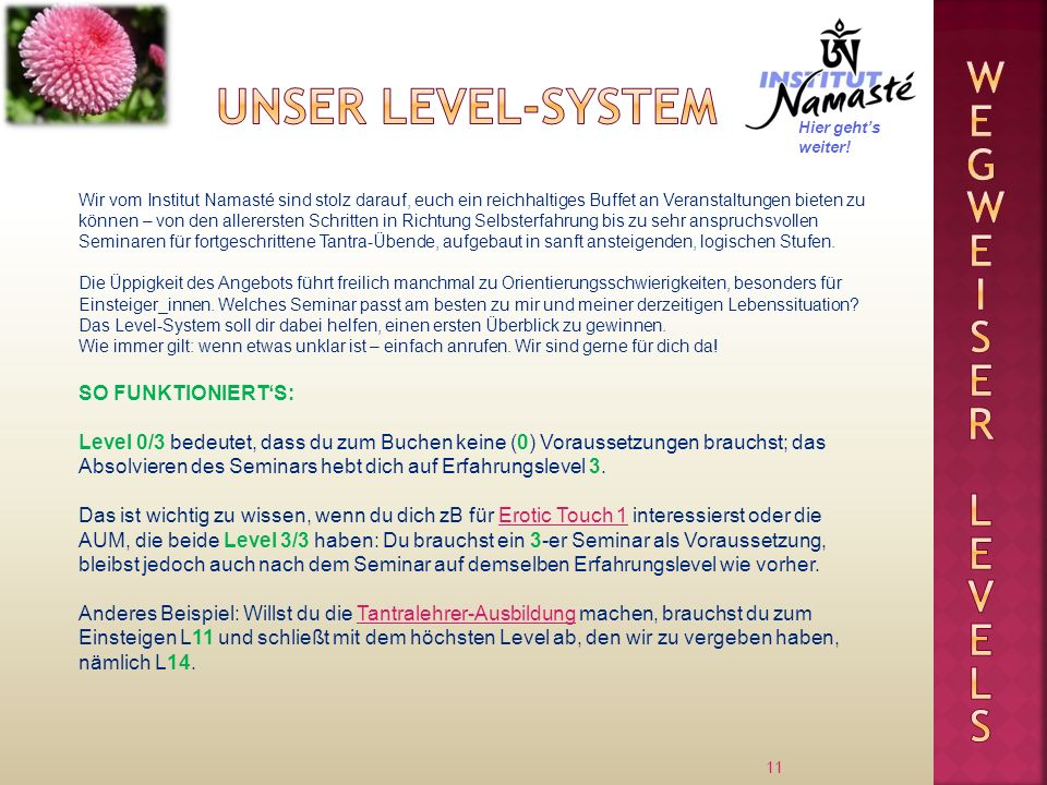 Unser Level-system Wegweiser levels SO FUNKTIONIERT'S: