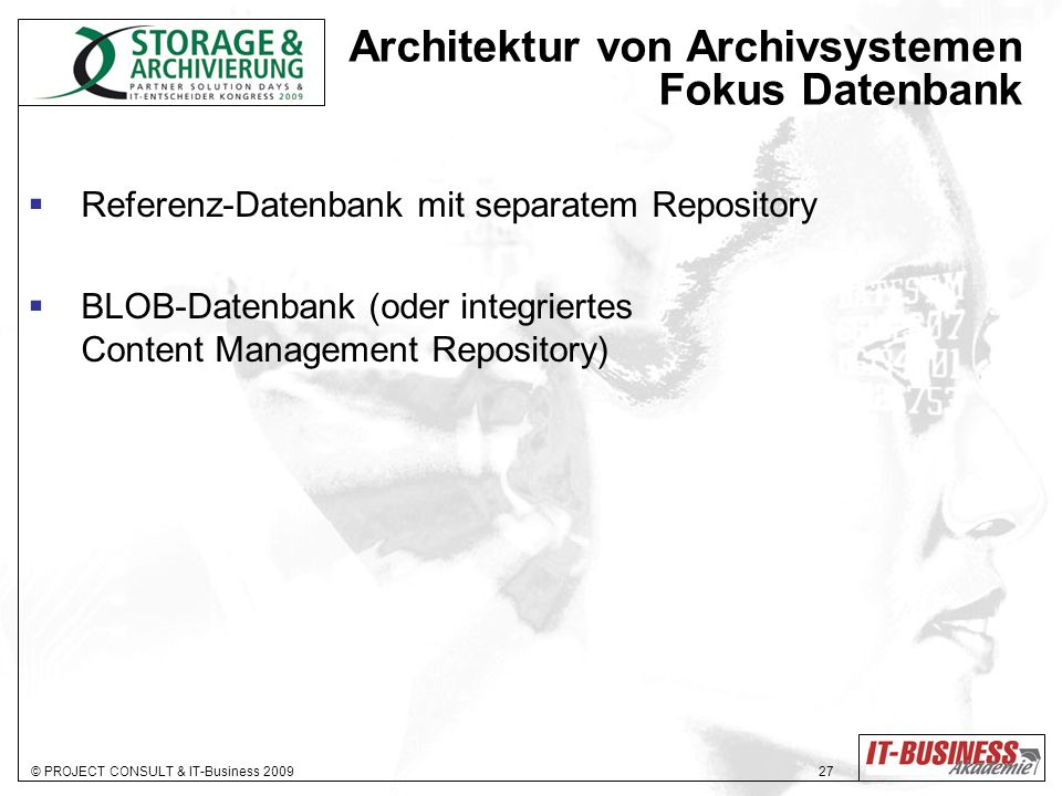 Architektur von Archivsystemen Fokus Datenbank