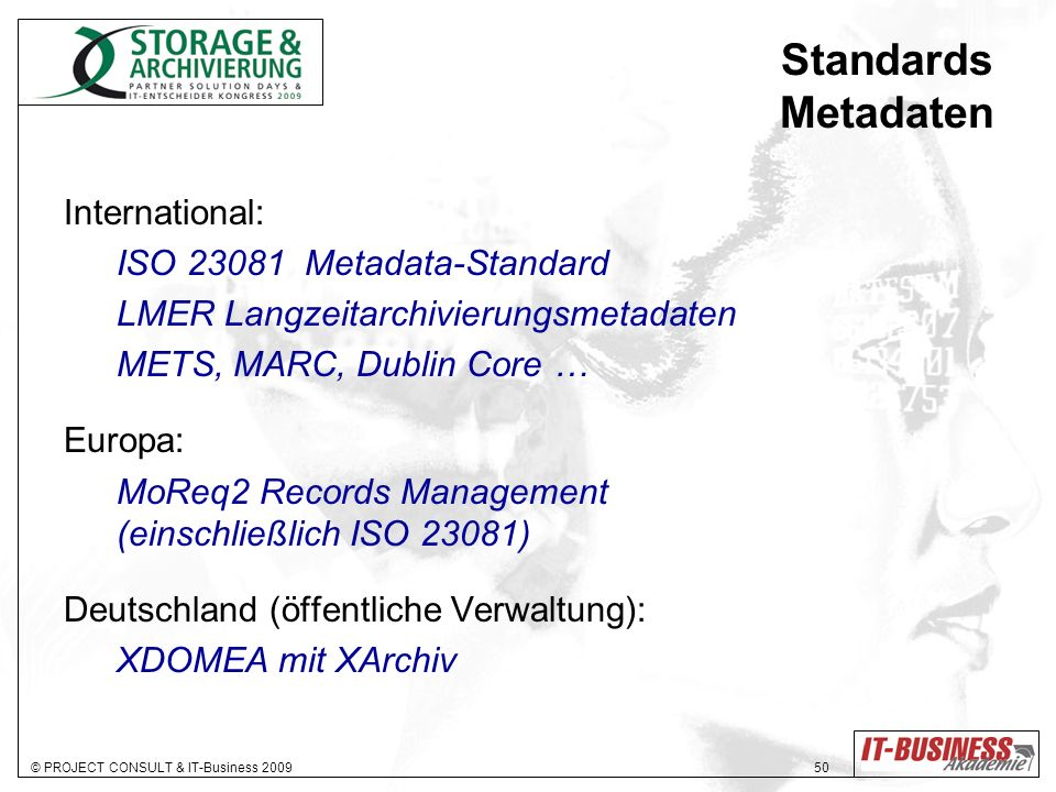 Standards Metadaten International: ISO 23081 Metadata-Standard