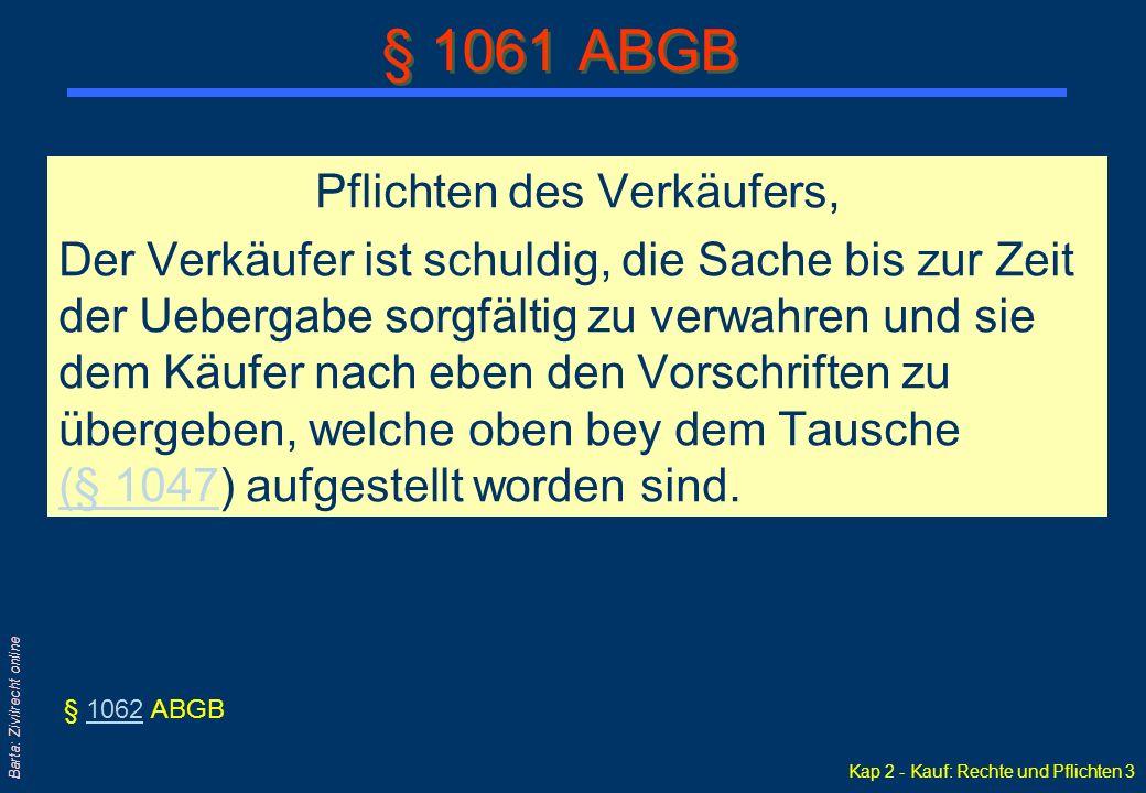 § 1061 ABGB Pflichten des Verkäufers,