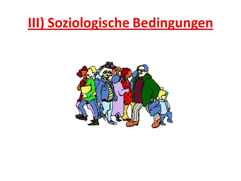 III) Soziologische Bedingungen