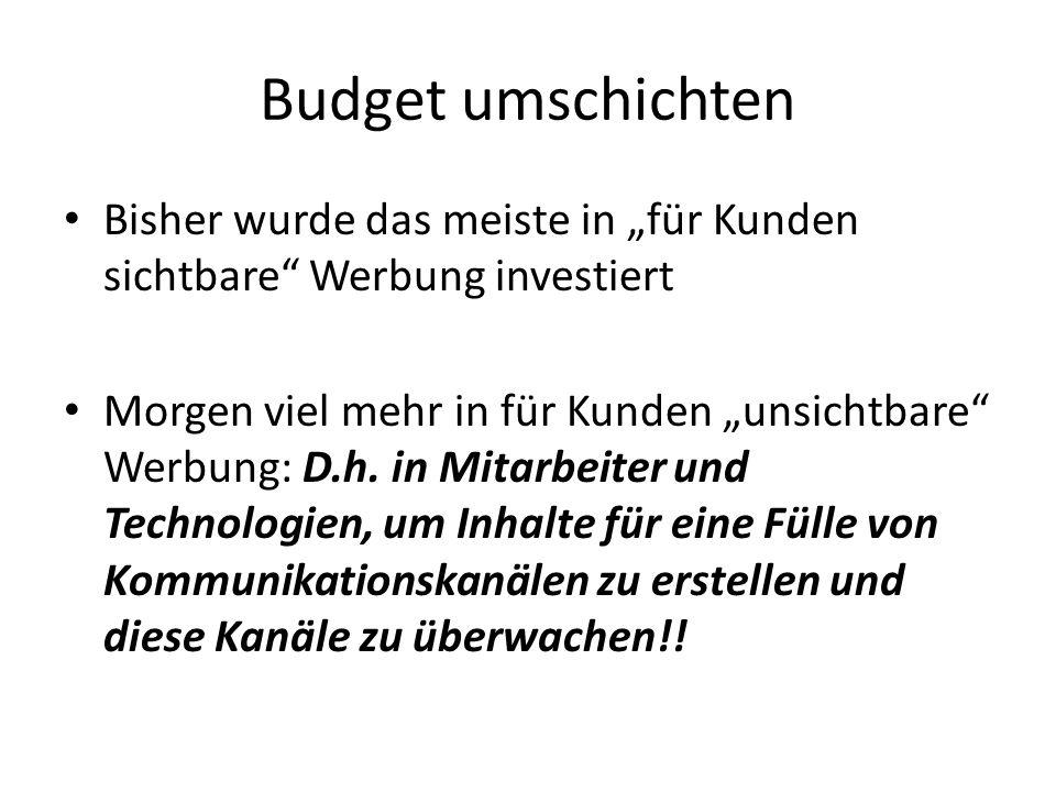 """Budget umschichten Bisher wurde das meiste in """"für Kunden sichtbare Werbung investiert."""