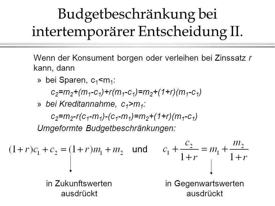 Budgetbeschränkung bei intertemporärer Entscheidung II.
