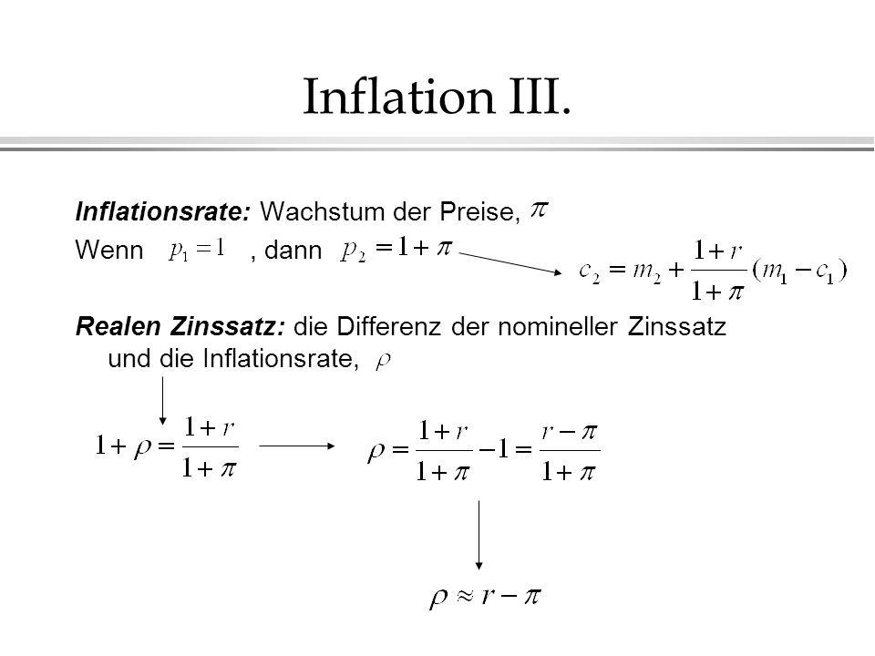 Inflation III. Inflationsrate: Wachstum der Preise, Wenn , dann