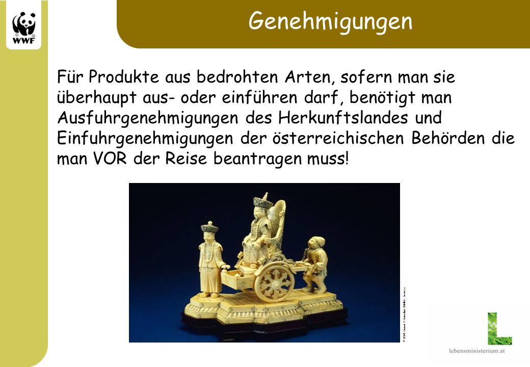 Genehmigungen Für Produkte aus bedrohten Arten, sofern man sie überhaupt aus- oder einführen darf, benötigt man.