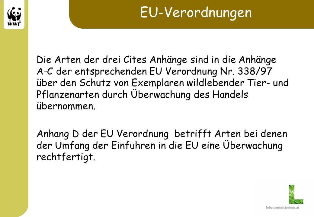EU-Verordnungen Die Arten der drei Cites Anhänge sind in die Anhänge