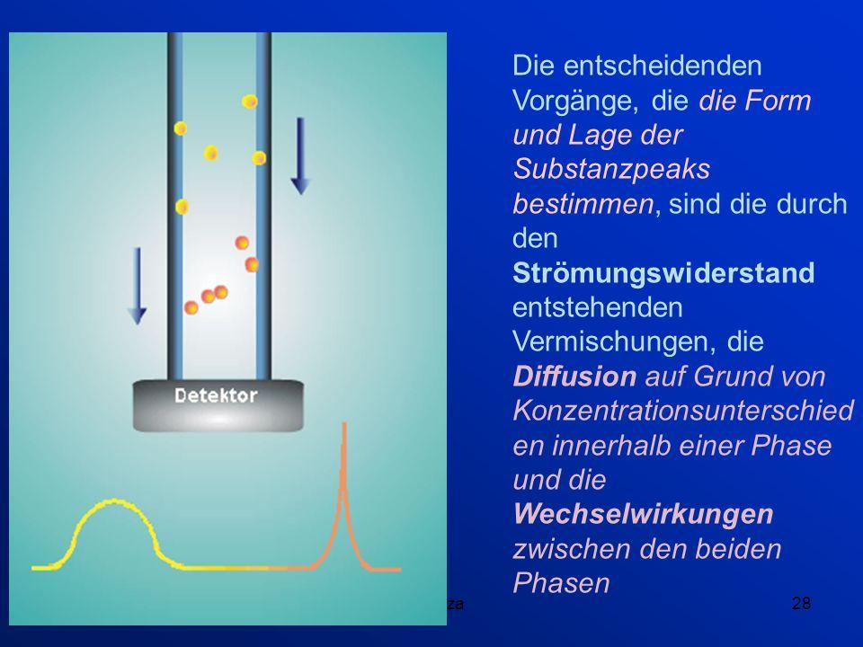 Die entscheidenden Vorgänge, die die Form und Lage der Substanzpeaks bestimmen, sind die durch den Strömungswiderstand entstehenden Vermischungen, die Diffusion auf Grund von Konzentrationsunterschieden innerhalb einer Phase und die Wechselwirkungen zwischen den beiden Phasen