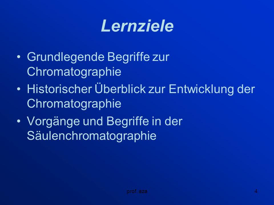 Lernziele Grundlegende Begriffe zur Chromatographie