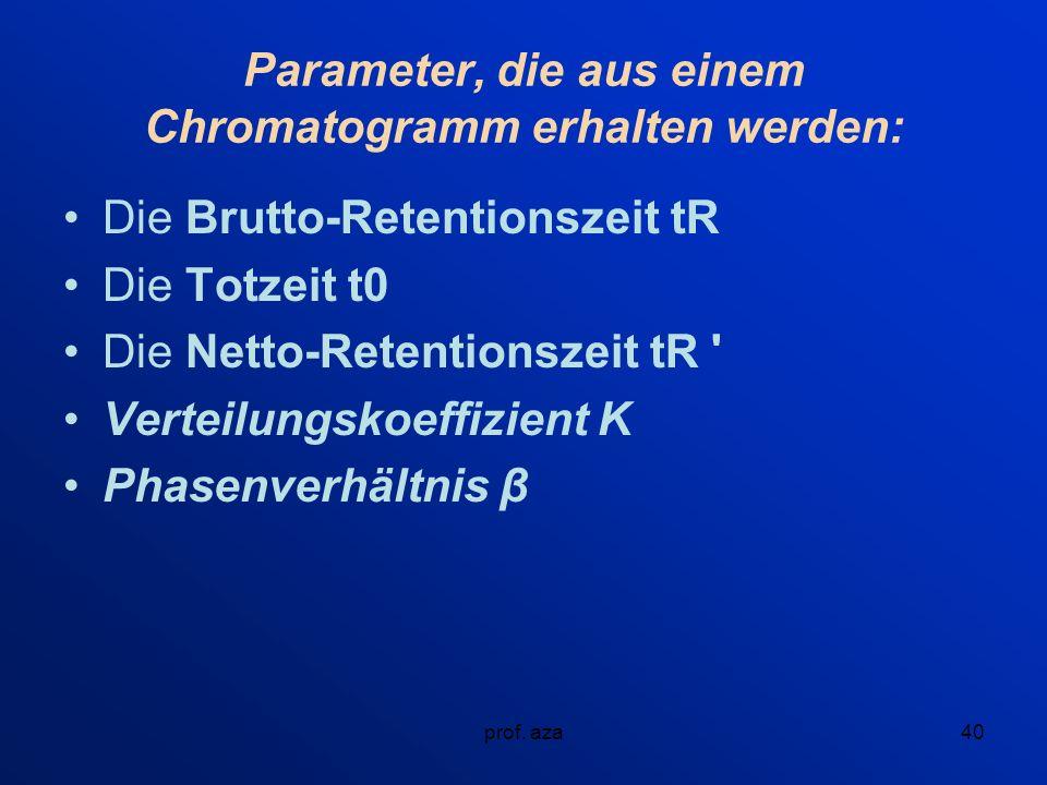 Parameter, die aus einem Chromatogramm erhalten werden: