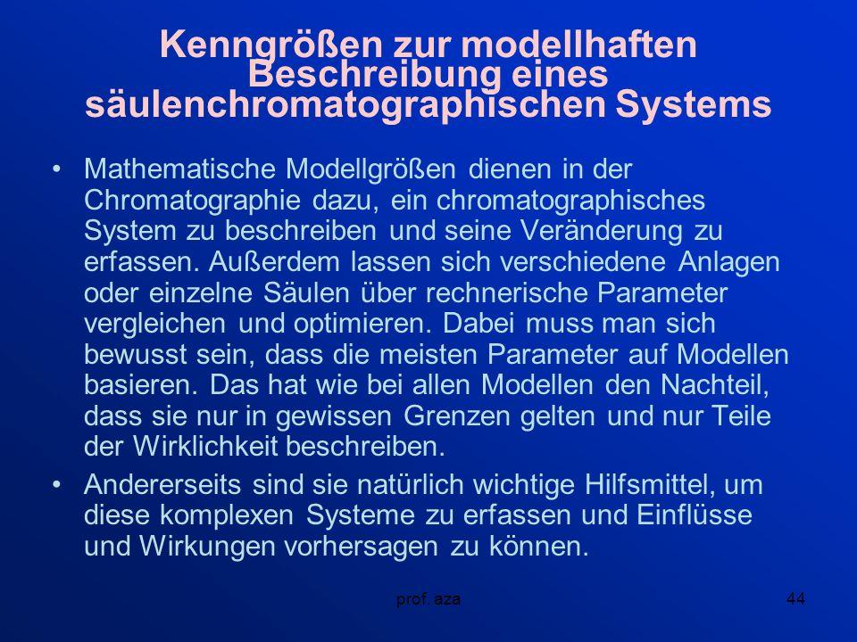Kenngrößen zur modellhaften Beschreibung eines säulenchromatographischen Systems