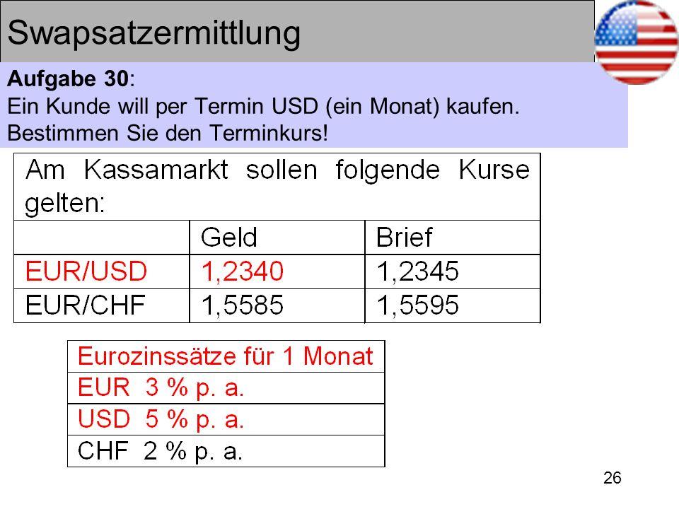 Swapsatzermittlung Aufgabe 30: Ein Kunde will per Termin USD (ein Monat) kaufen.