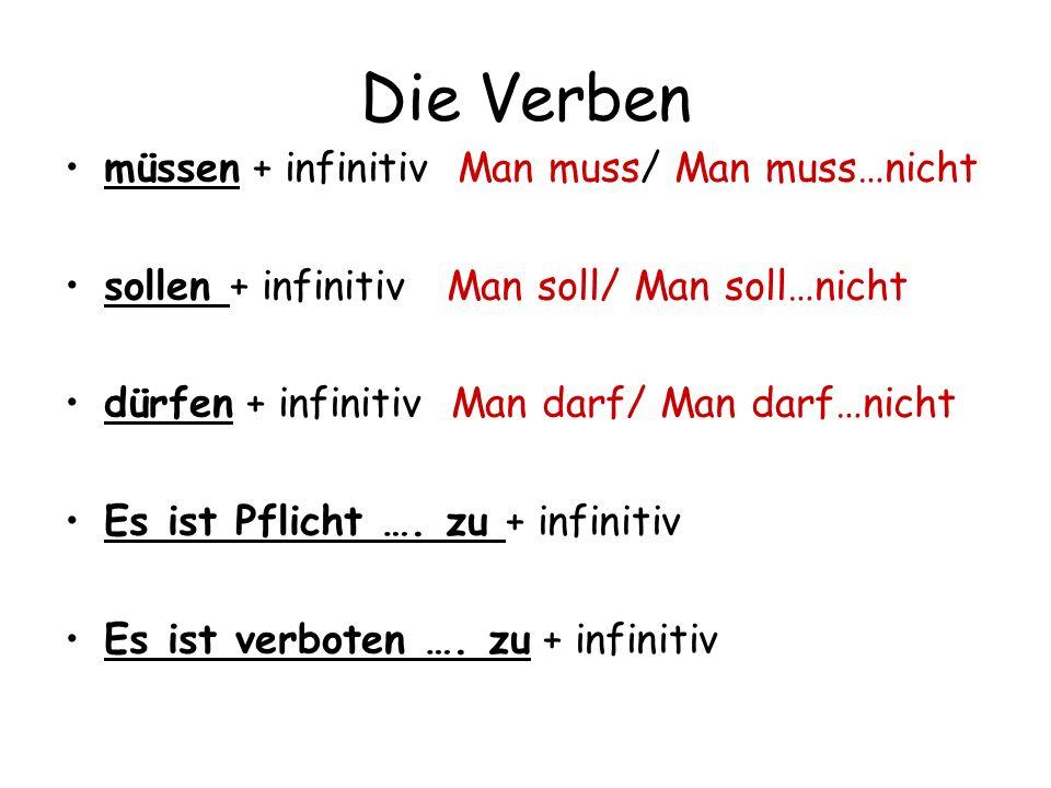 Die Verben müssen + infinitiv Man muss/ Man muss…nicht