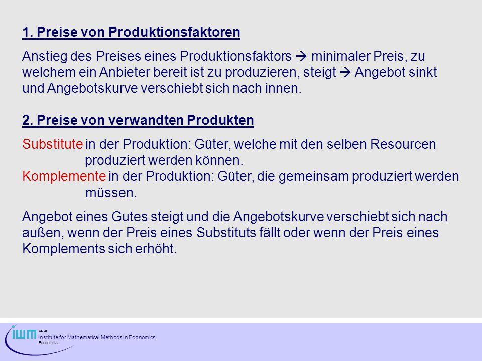 1. Preise von Produktionsfaktoren
