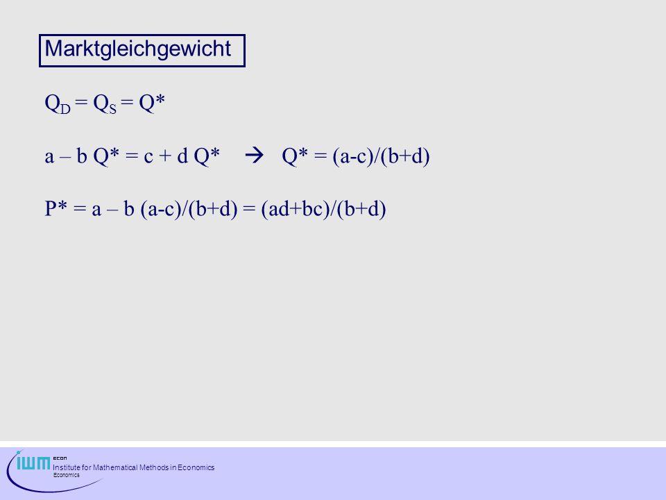 Marktgleichgewicht QD = QS = Q* a – b Q* = c + d Q*  Q* = (a-c)/(b+d) P* = a – b (a-c)/(b+d) = (ad+bc)/(b+d)
