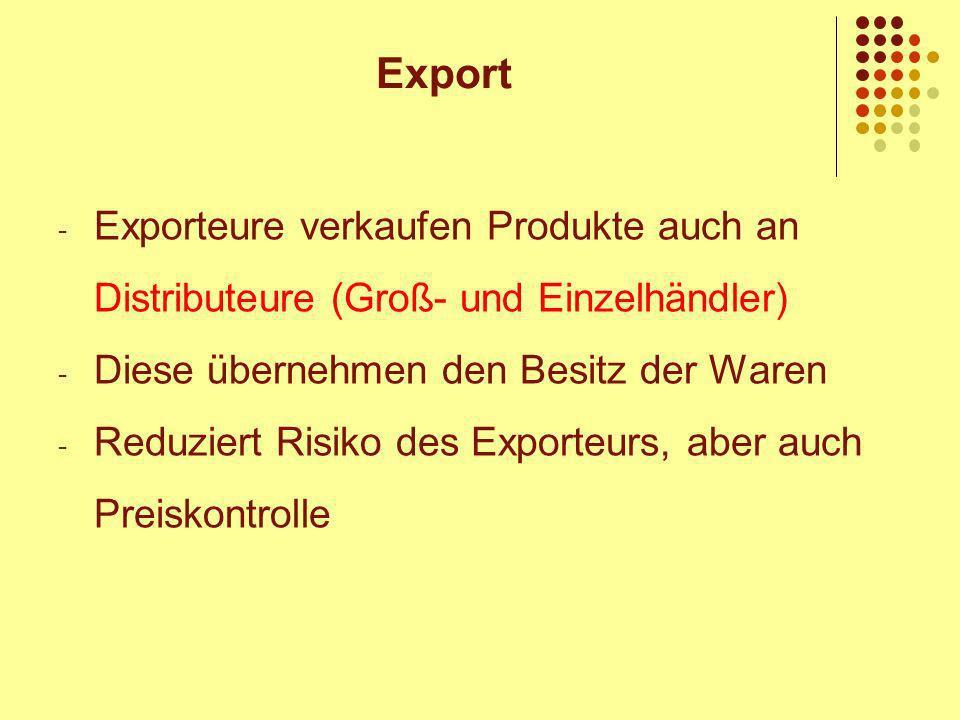 Export Exporteure verkaufen Produkte auch an Distributeure (Groß- und Einzelhändler) Diese übernehmen den Besitz der Waren.