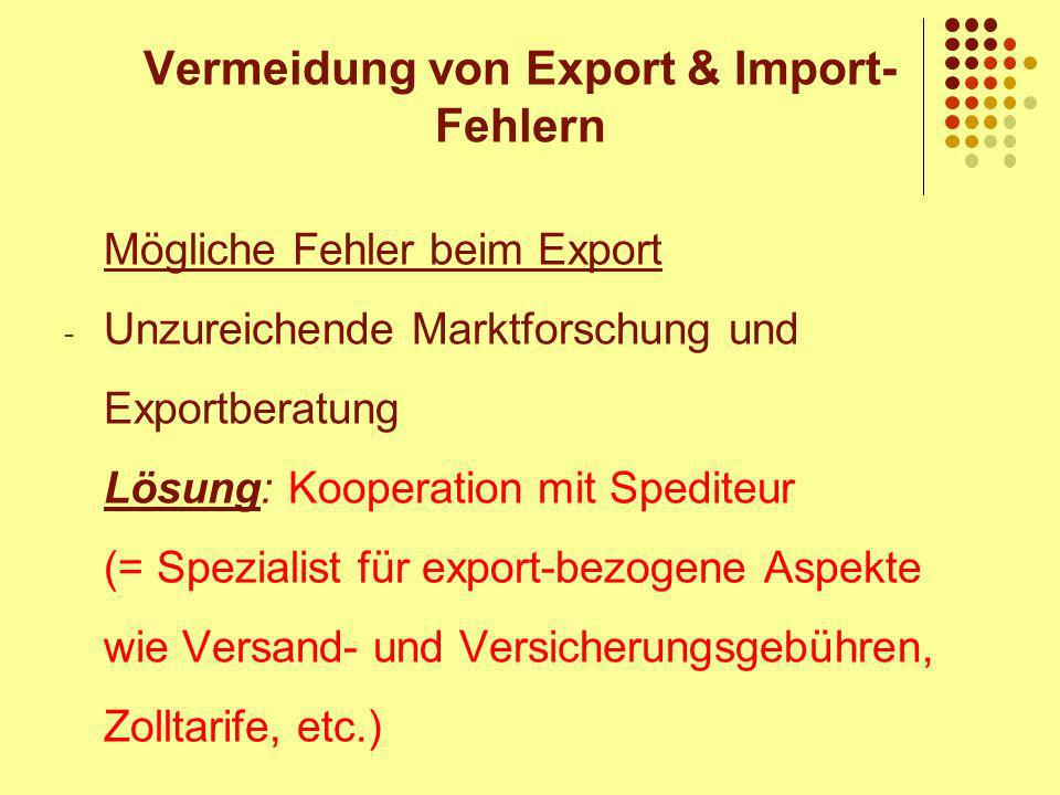 Vermeidung von Export & Import-Fehlern