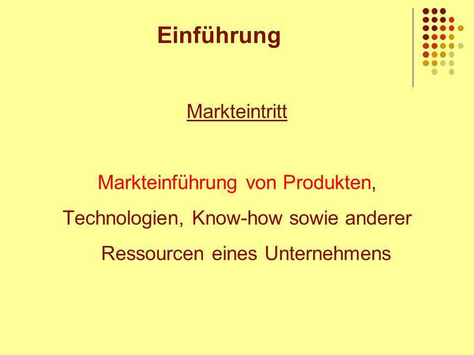 Einführung Markteintritt Markteinführung von Produkten,