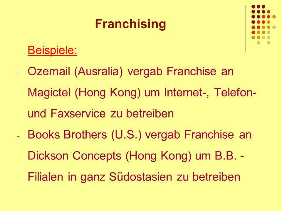 Franchising Beispiele: