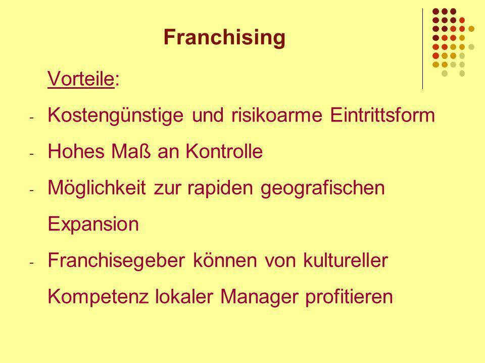 Franchising Vorteile: Kostengünstige und risikoarme Eintrittsform