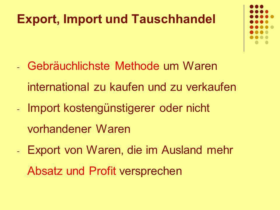 Export, Import und Tauschhandel