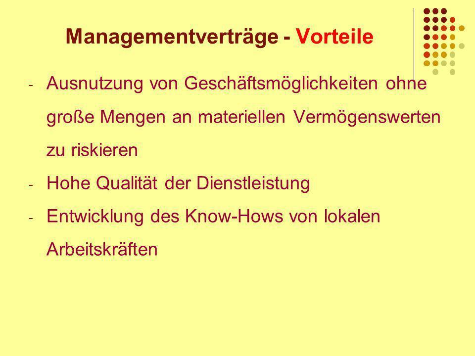 Managementverträge - Vorteile