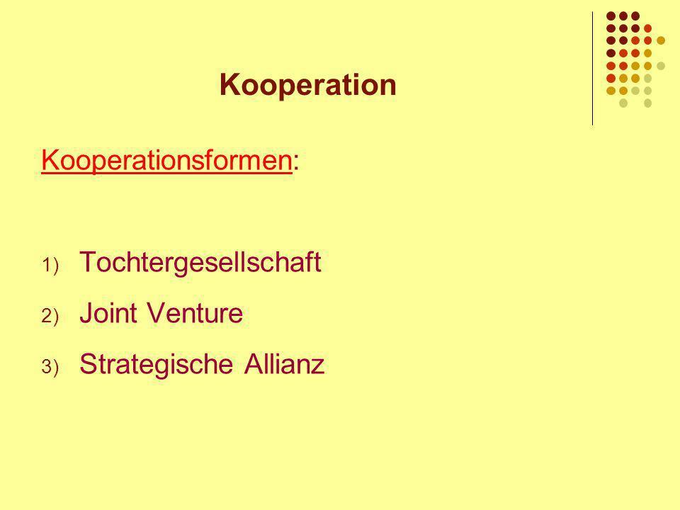 Kooperation Kooperationsformen: Tochtergesellschaft Joint Venture