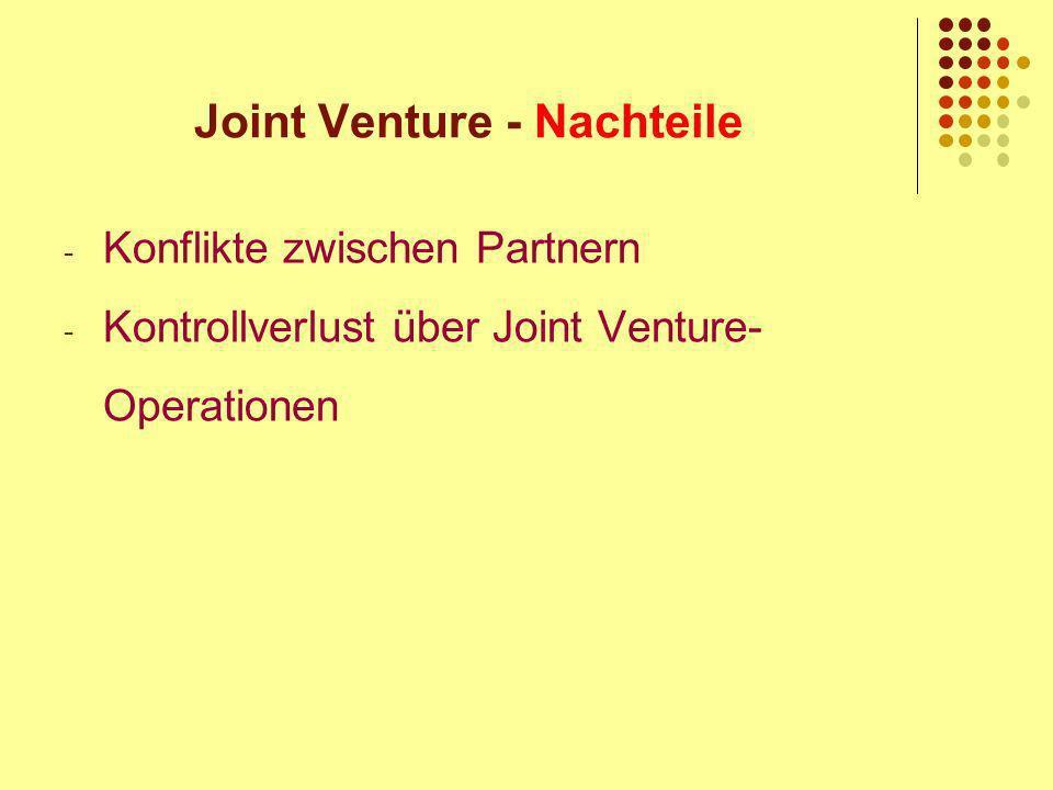 Joint Venture - Nachteile