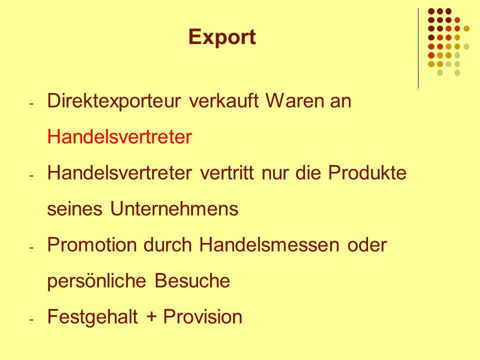 Export Direktexporteur verkauft Waren an Handelsvertreter