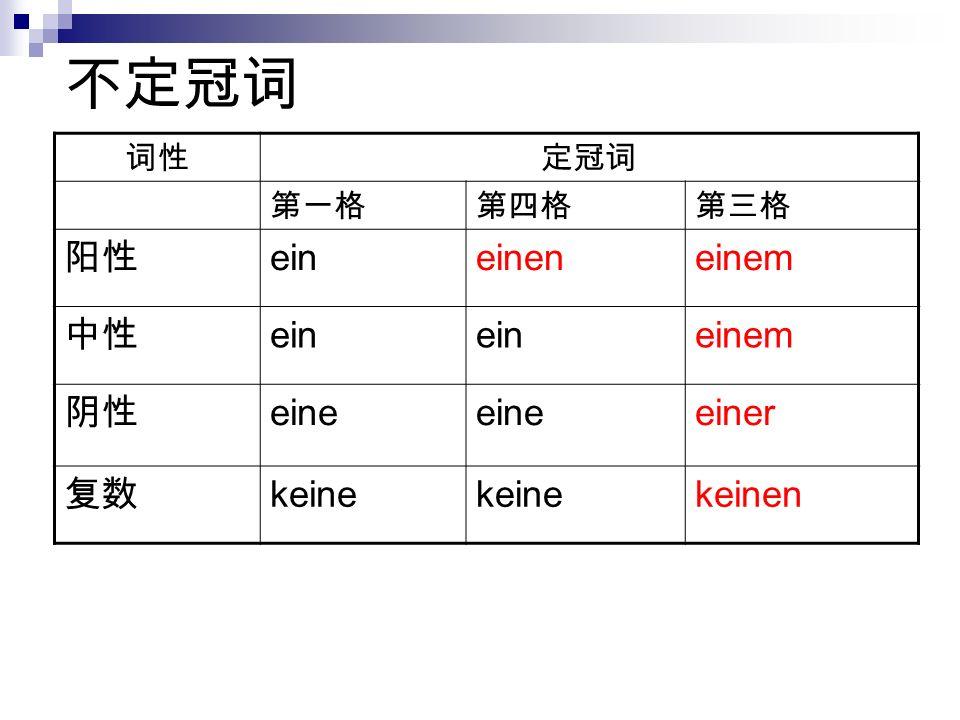 不定冠词 阳性 ein einen einem 中性 阴性 eine einer 复数 keine keinen 词性 定冠词 第一格