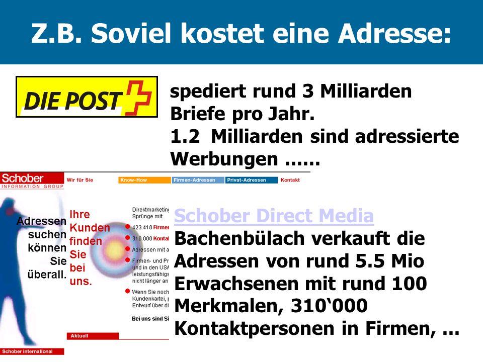 Z.B. Soviel kostet eine Adresse: