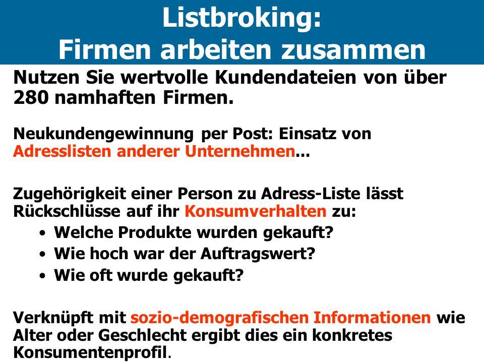 Listbroking: Firmen arbeiten zusammen