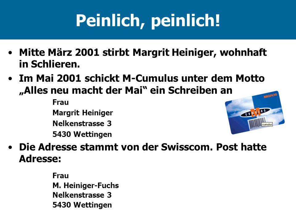 Peinlich, peinlich! Mitte März 2001 stirbt Margrit Heiniger, wohnhaft in Schlieren.