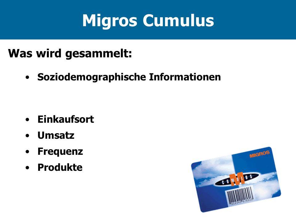 Migros Cumulus Was wird gesammelt: Soziodemographische Informationen