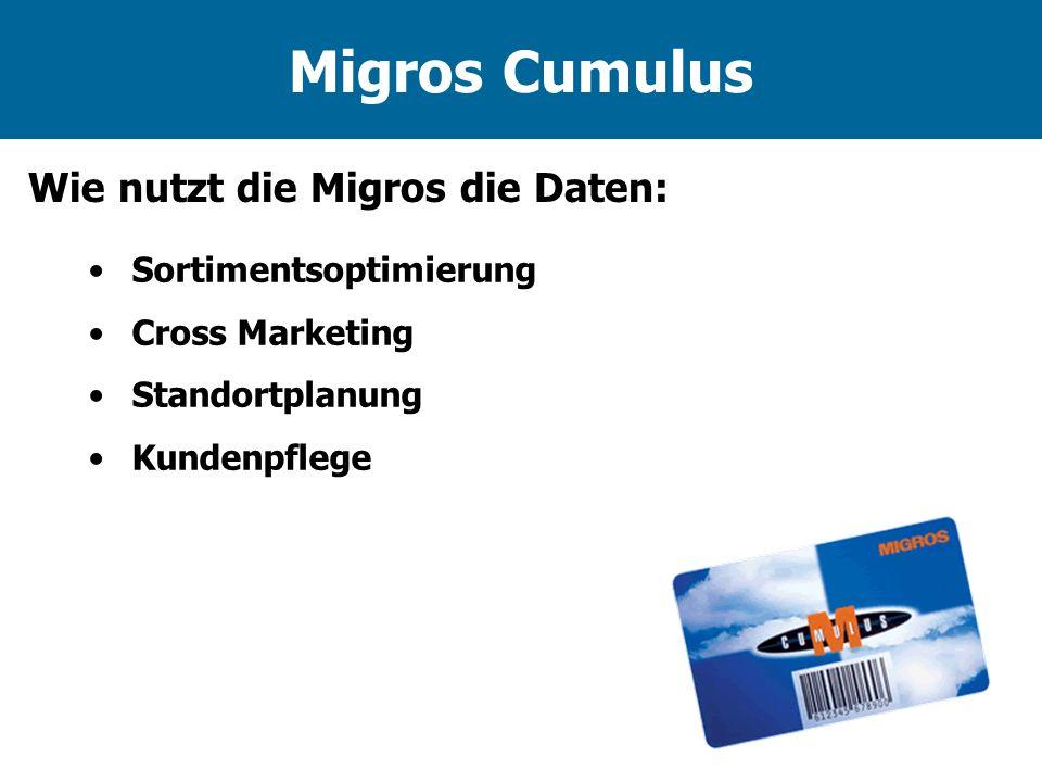 Migros Cumulus Wie nutzt die Migros die Daten: Sortimentsoptimierung