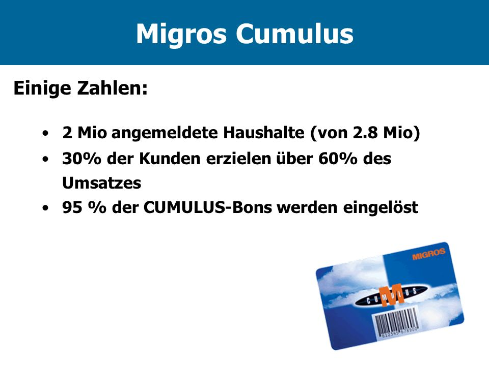 Migros Cumulus Einige Zahlen: