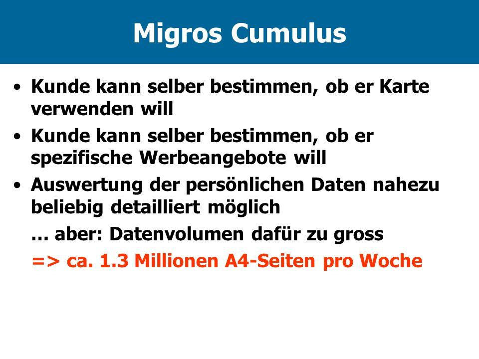 Migros Cumulus Kunde kann selber bestimmen, ob er Karte verwenden will