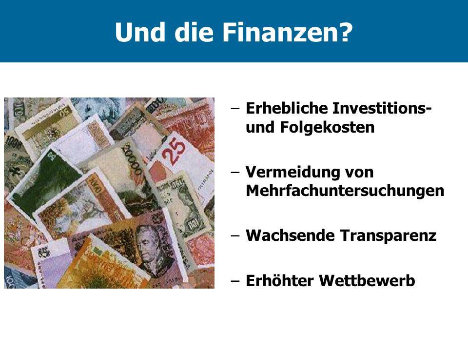 Und die Finanzen Erhebliche Investitions- und Folgekosten