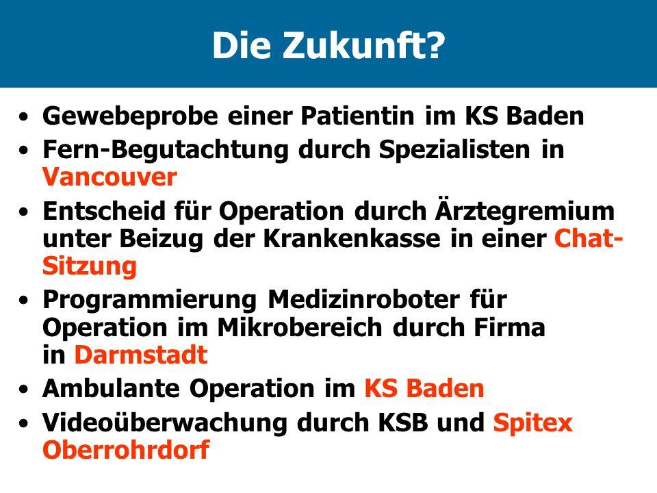 Die Zukunft Gewebeprobe einer Patientin im KS Baden